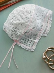•Presencia Fincrochet Cotton, size 60, 1 ball of White for the Bonnie Rose Baby Bonnet to Crochet by Laura Ricketts Credit: Photograph by Joe Coca from the May/June 2016 issue of Interweave's PieceWork magazine. Copyright © F+W Media 2016
